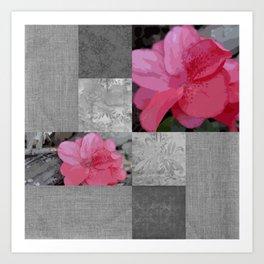 Gray Burlap and Damask with Pink Azaleas - Modern Farmhouse Art Print