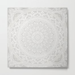 Mandala Soft Gray Metal Print