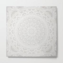 Mandala Soft Gray Metal Print