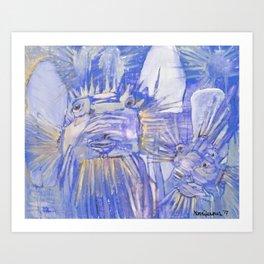 Boxfish in Indigo Art Print