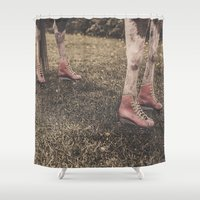 "roller derby Shower Curtains featuring Kentucky ""Roller"" Derby  by Bells Design"