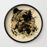 leopard Wall Clocks featuring Leopard by DIVIDUS DESIGN STUDIO