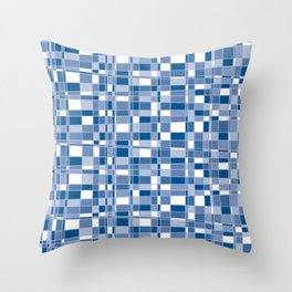 Mod Gingham - Blue Throw Pillow
