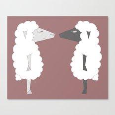 White Sheep meets Black Sheep Canvas Print