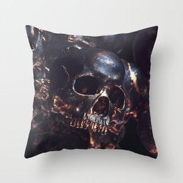 Black Gold Skull Throw Pillow