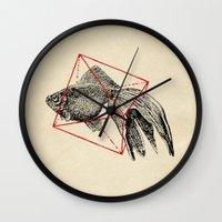 fish Wall Clocks featuring Fish In Geometrics III by Florent Bodart / Speakerine