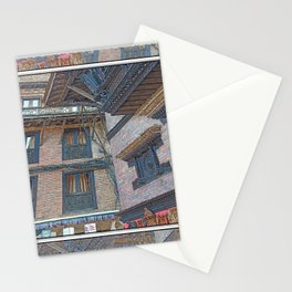 BHAKTAPUR NEPAL BRICKS WINDOWS WIRES Stationery Cards