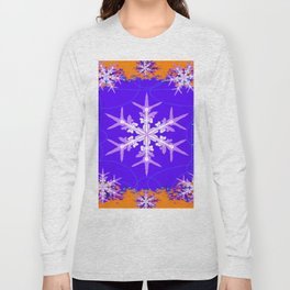 Purple Snowflake Modern Art Abstract Long Sleeve T-shirt