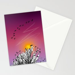 Sunset birds Stationery Cards