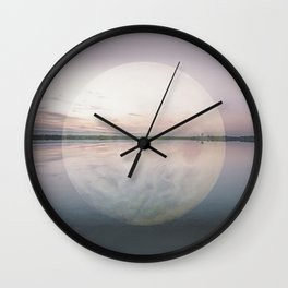 Surreal Moon Over Calm Waters Wall Clock
