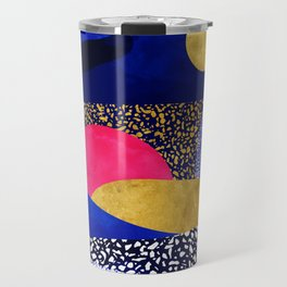 Terrazzo galaxy blue night yellow gold pink Travel Mug