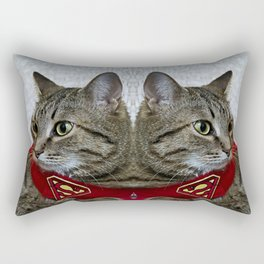 A portrait of a grey cat in a cape with a logo of Superman.  Rectangular Pillow
