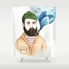 The Sailor and the Sea Shower Curtain