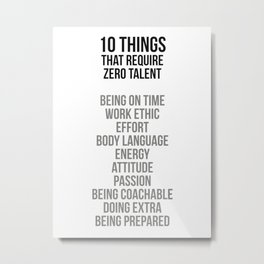 Ten Things That Require Zero Talent, Office Decor, Office Wall Art Metal Print