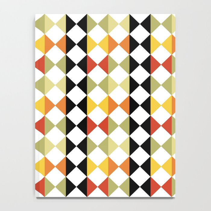 Checker diamond style colorful pattern with black and white Notebook