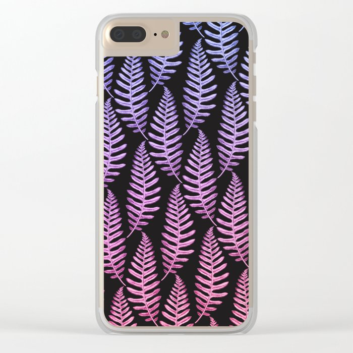 Multi Color Leaves (Black) Clear iPhone Case