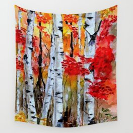 Birch Trees in Fall Wall Tapestry