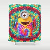 minion Shower Curtains featuring Minion by DisPrints