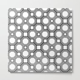 Modern Black and White Geometrical Pattern Metal Print