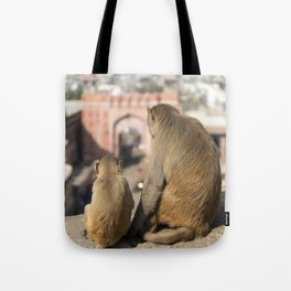 Monkeys near Galta Gate, Jaipur, India Tote Bag