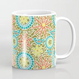 Birds and Flowers Mosaic - Green, orange, yellow Coffee Mug