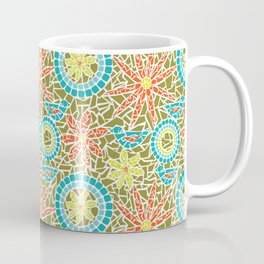 Birds and Flowers Mosaic - Green, orange, yellow Coffee Mug