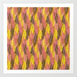 Feathers Stripe - Coral Pink and Yellow Art Print