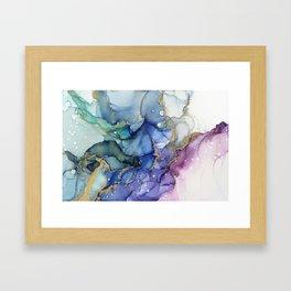 Moody Mermaid Bubbles Abstract Ink Framed Art Print