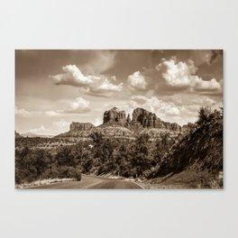 Sedona Arizona Sepia Landscape - Cathedral Rock Canvas Print