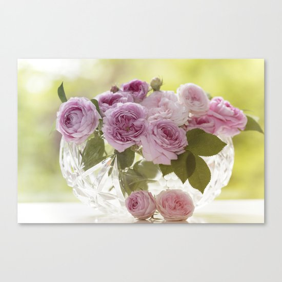 Wonderful English Roses in a crystal bowl- Rose-Flowers- Canvas Print