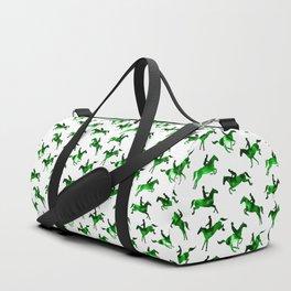 Watercolor Showjumping Horses (Green) Duffle Bag