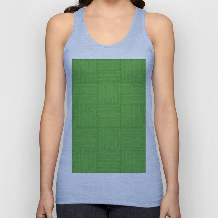 Green Faux Bois Wood Pattern Unisex Tank Top