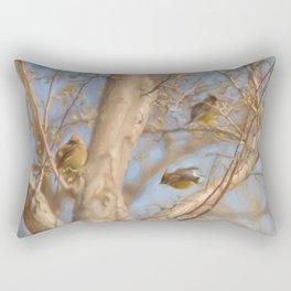 Trio of Waxwings Rectangular Pillow