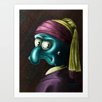 Squidward with a pearl earing Art Print