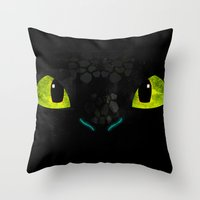 toothless Throw Pillows featuring Toothless by KitsuneDesigns