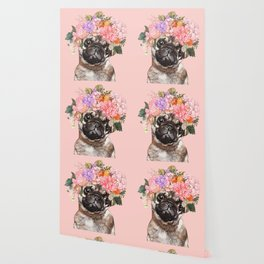 Pug with Flower Crown Wallpaper