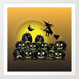 Pumpkins and witch in front of a full moon Art Print