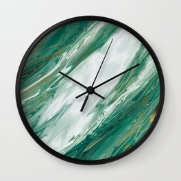 Emerald Jade Green Gold Accented Painted Marble Wall Clock
