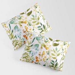 Imprints meadow flowers and herbs. Hand painted illustration pattern. Digital drawing and watercolor texture. background for textile decor and design. botanical wallpaper  Pillow Sham