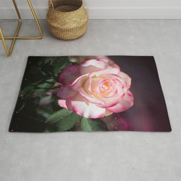 Pink and White Rose with a little magic Star Dust Rug