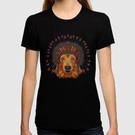 Portrait of Lion King in war bonnet. Wild Lion Wild animal wearing inidan hat hand-drawn illustration T-shirt
