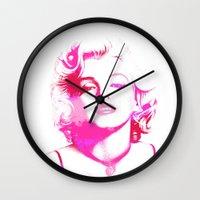 monroe Wall Clocks featuring Monroe by Laura Maria Designs