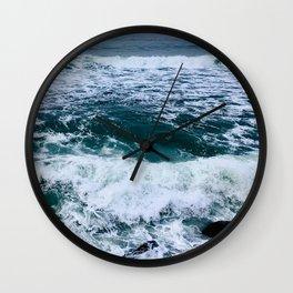 Rockaway Beach Ocean Waves, Pacifica, California Coast by Christie Olstad Wall Clock