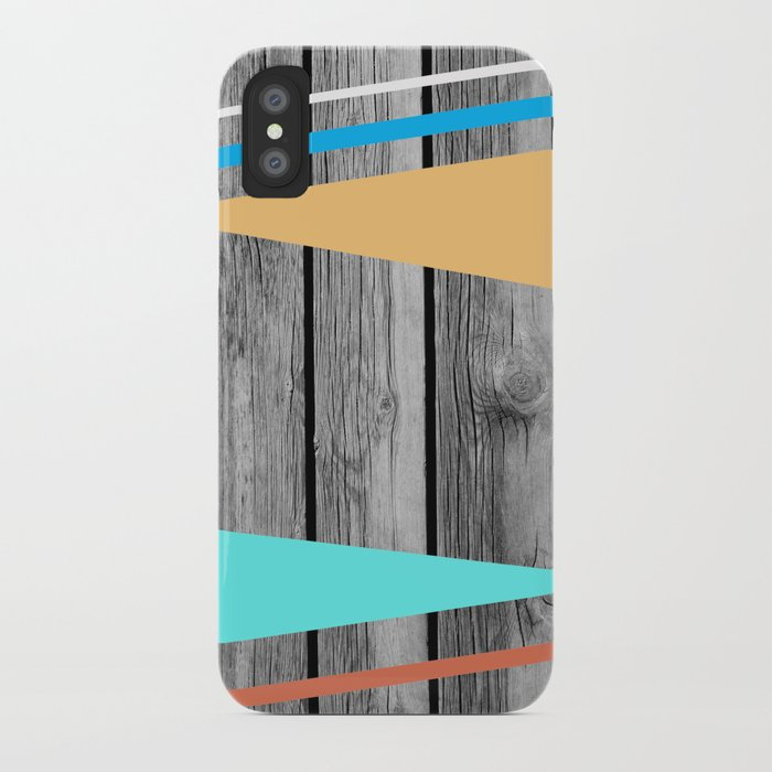 Colors On Monochrome Wood iPhone Case