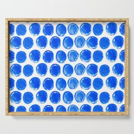 Blue acrylic circles pattern Serving Tray