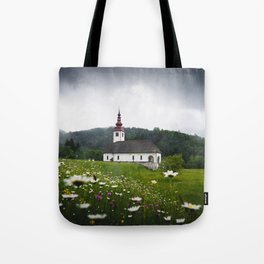 Church in a Meadow Scenic Landscape Tote Bag