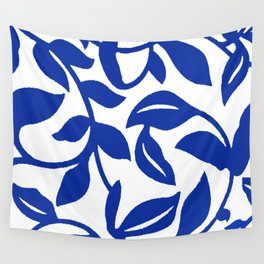 PALM LEAF VINE SWIRL BLUE AND WHITE PATTERN Wall Tapestry