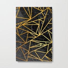 GEOMETRIC BLACK MARBLE Metal Print