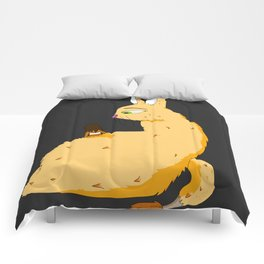 Sly Cat Monster on black background Comforters