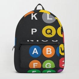 New York City subway alphabet map, NYC, lettering illustration, dark version, usa typography Backpack